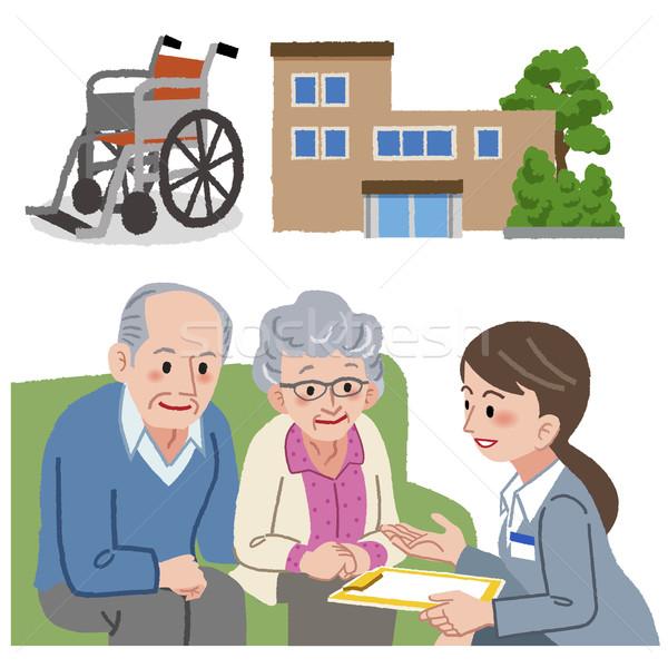 ältere Paar Pflege Manager Pflegeheim Rad Stock foto © norwayblue