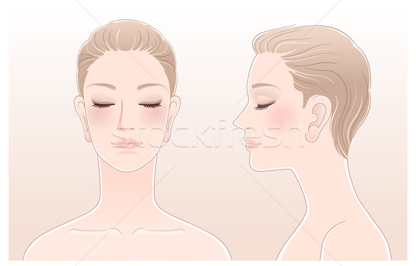 Set of Beautiful woman portrait with eyes closed Stock photo © norwayblue