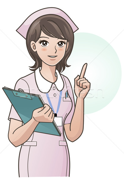 Cute nurse in pink uniform pointing the index finger up Stock photo © norwayblue
