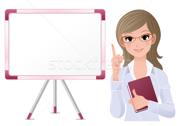Cute woman lecturring beside white board Stock photo © norwayblue