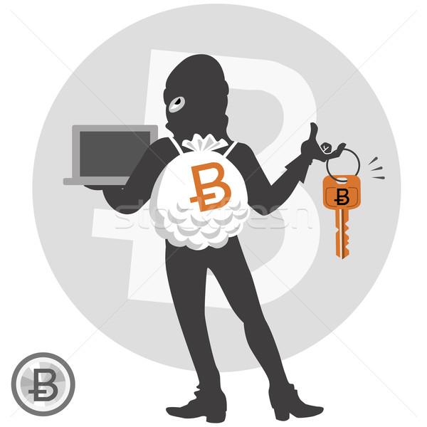 Digitalen Währung Hacker Bedrohung Verbrecher Stock foto © norwayblue