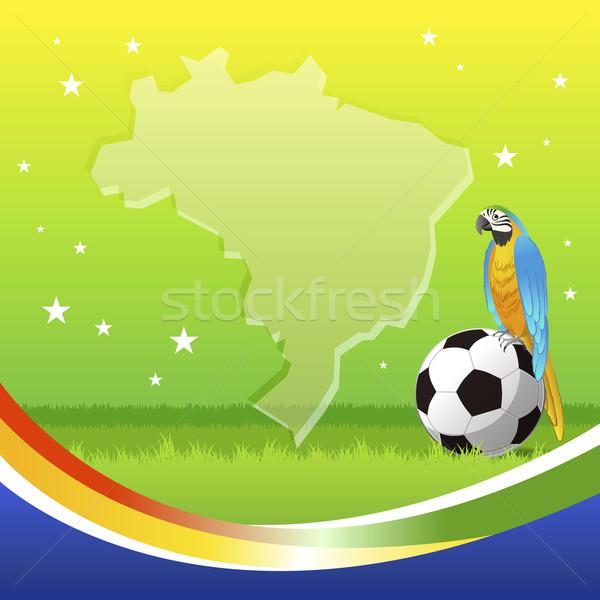Футбол сидят футбольным мячом фон птица синий Сток-фото © norwayblue