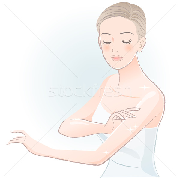Young spa woman gently touching arms Stock photo © norwayblue