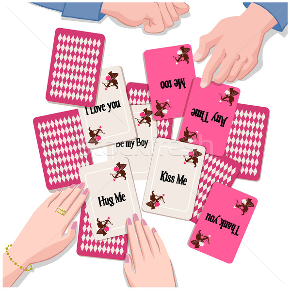 Couple with playing cards of  Love message Stock photo © norwayblue