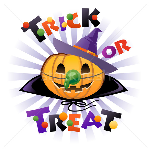 Halloween pumpkin Jack o lantern in wich costume Stock photo © norwayblue