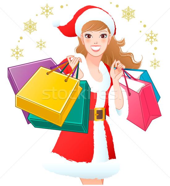 девушки торговых Рождества подарки Сток-фото © norwayblue