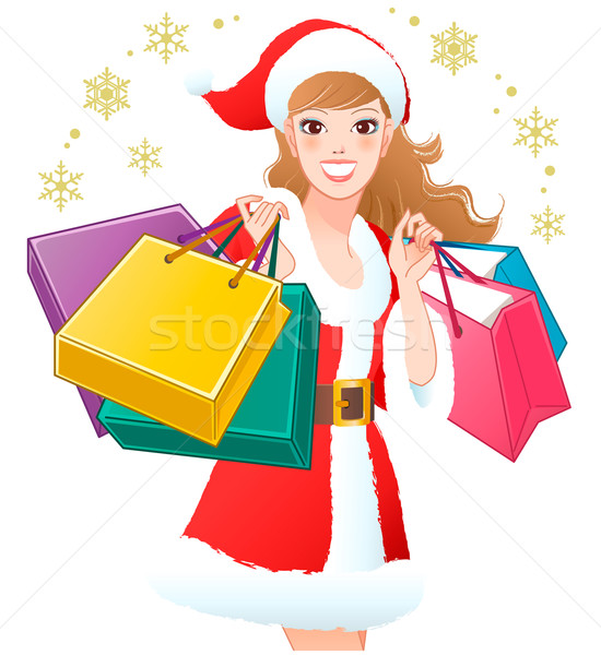 Close-up Santa Girl shopping Christmas gifts Stock photo © norwayblue