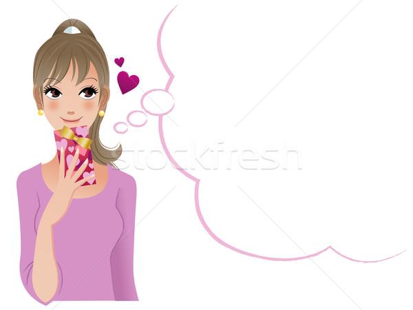 красивая женщина мышления кто-то давать подарок Сток-фото © norwayblue