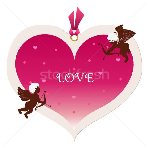 Duży serca tag walentynki baby anioł Zdjęcia stock © norwayblue