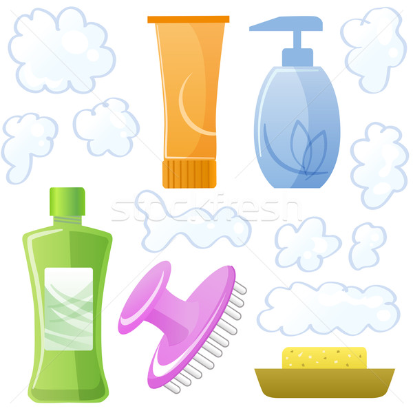 Bottles of body and hair care and beauty products Stock photo © norwayblue