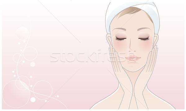Stock fotó: Gyönyörű · lány · fürdő · nő · megérint · arc · bőrápolás