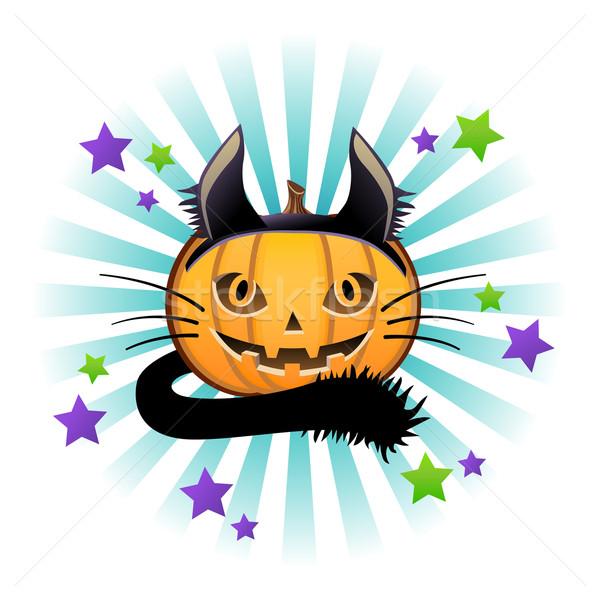 Lanterna gato preto traje laranja estrelas Foto stock © norwayblue