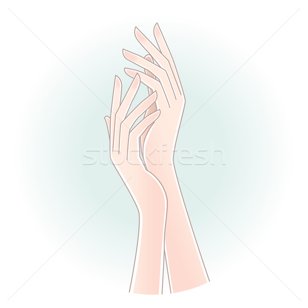 Beautiful woman's hands on pale blue background Stock photo © norwayblue