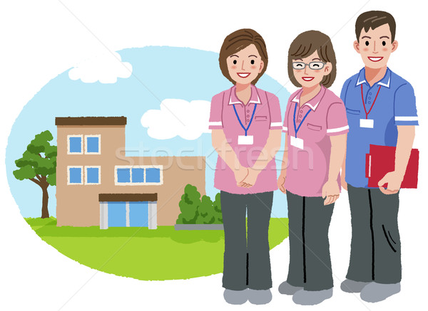 Smiling caregivers with nursing house background Stock photo © norwayblue