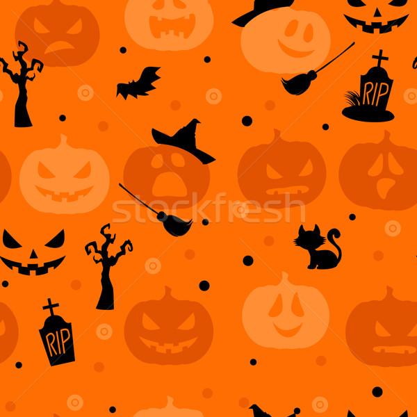 Хэллоуин праздник дерево оранжевый черный темно Сток-фото © norwayblue