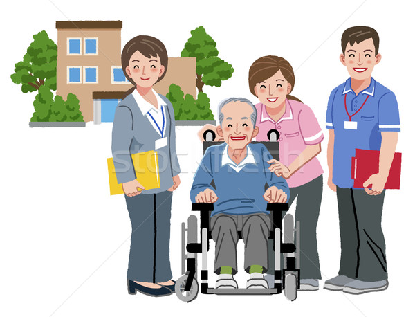 Cheerful elderly person in wheelchair with his nursing caregiver Stock photo © norwayblue