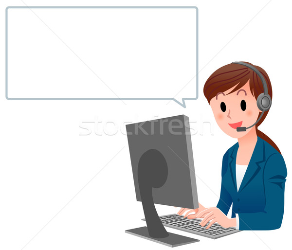 Customer service woman in suit at computer with speech bubble Stock photo © norwayblue
