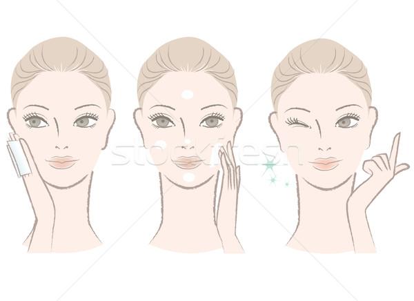 Piękna kobieta mleczko kosmetyczne krem twarz Zdjęcia stock © norwayblue