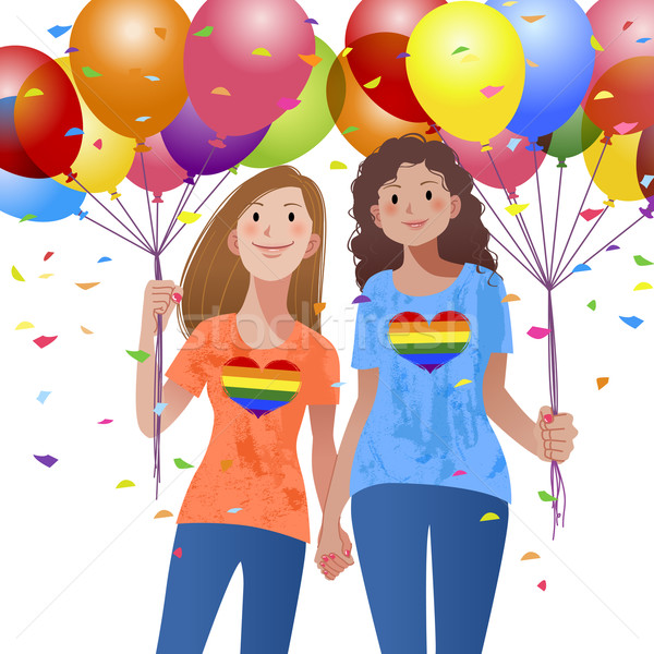 Lesbian couple holding hand each other and balloons Stock photo © norwayblue