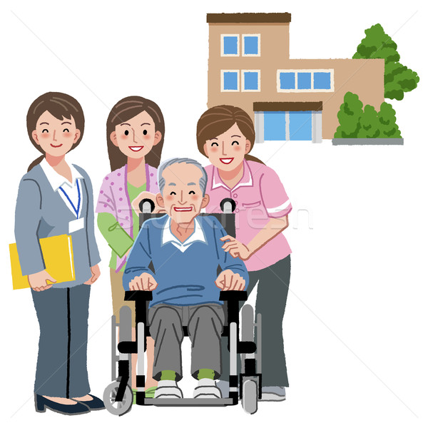 Smiling senior man with caregivers Stock photo © norwayblue