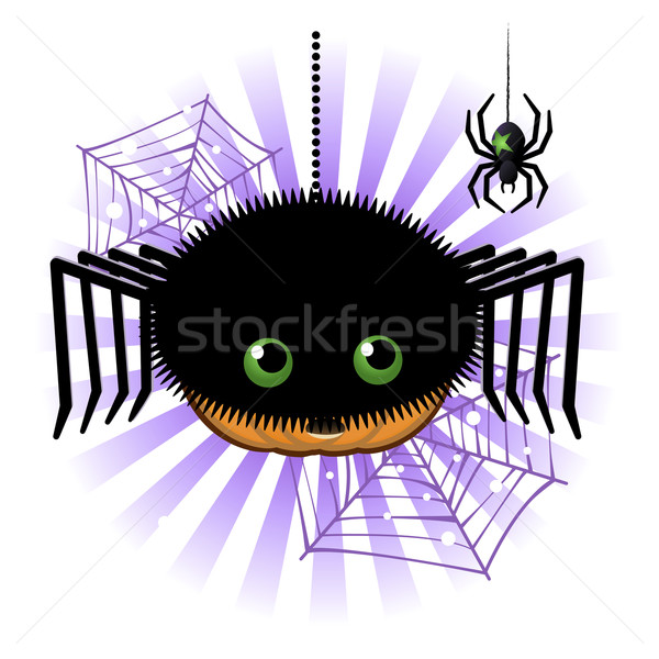 Halloween pumpkin Jack o lantern in spider costume Stock photo © norwayblue
