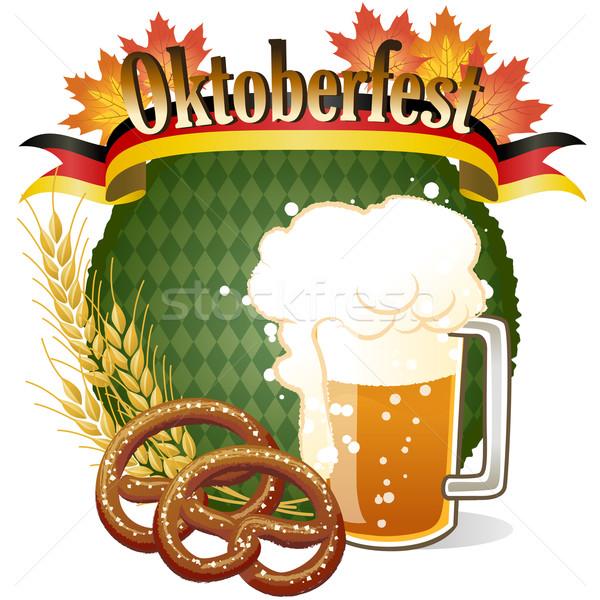 Oktoberfest celebrazione design birra pretzel gradienti Foto d'archivio © norwayblue