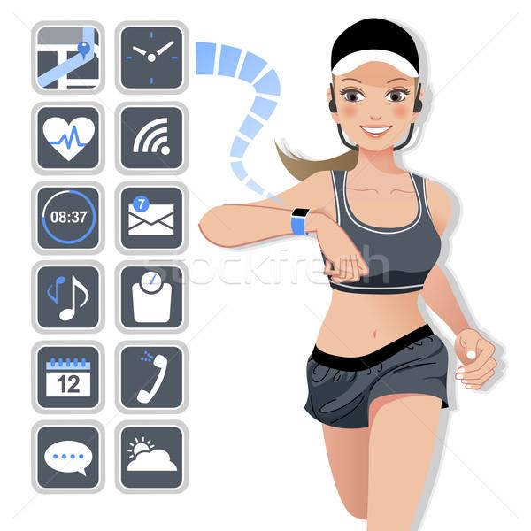 Smart Смотреть спорт женщину иконки бег Сток-фото © norwayblue