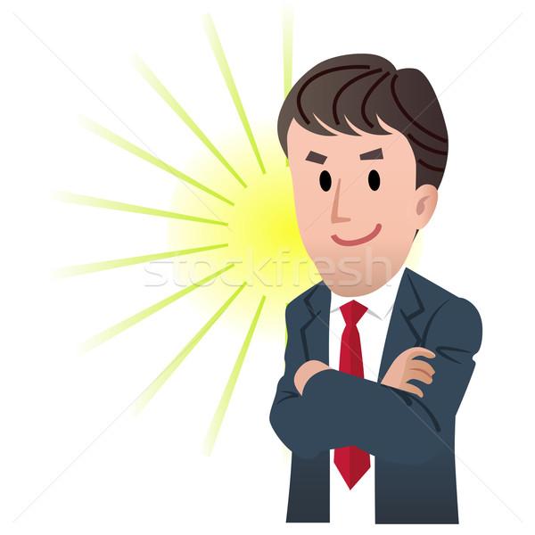 Iş adamı kol flaş ışık gülen karikatür Stok fotoğraf © norwayblue