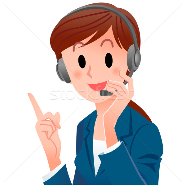 close-up cute support phone operator pointing up with a smile Stock photo © norwayblue