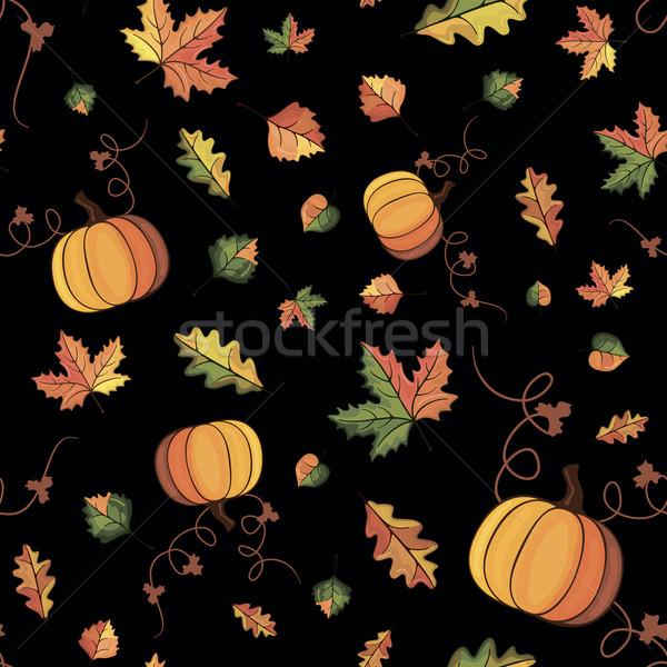Vektor ősz minta kép őszi levelek fekete Stock fotó © nosik