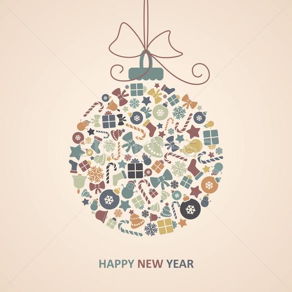 új év kártya vidám karácsony textúra boldog Stock fotó © nosik