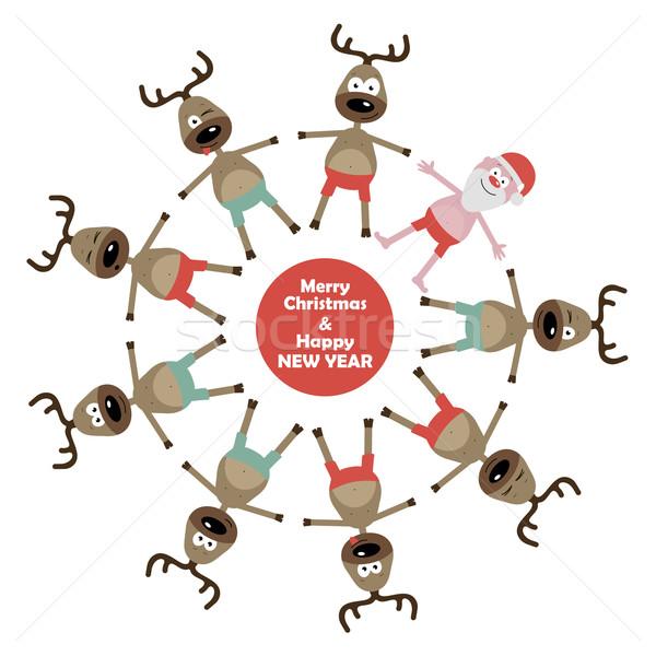 Karácsony üdvözlőlap vidám textúra boldog keret Stock fotó © nosik