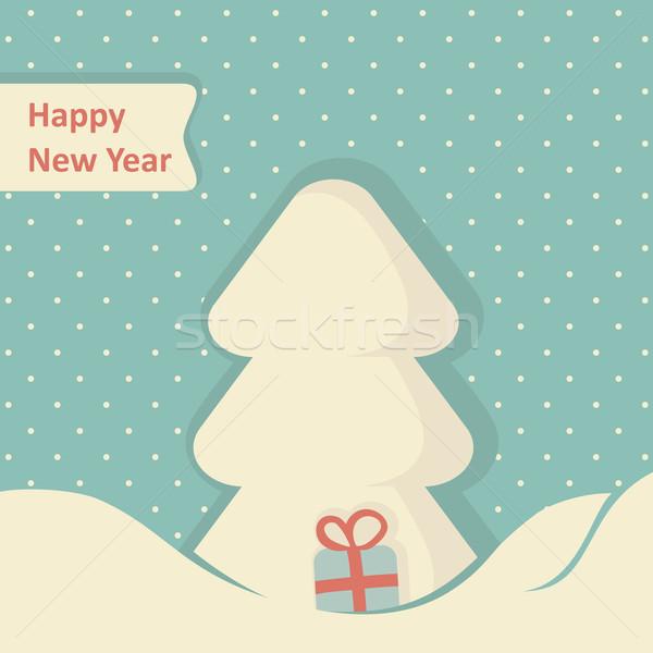 Karácsony üdvözlőlap karácsonyfa textúra boldog keret Stock fotó © nosik