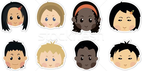 Vicces gyerekek ikonok arc karakter fiúk Stock fotó © nosik