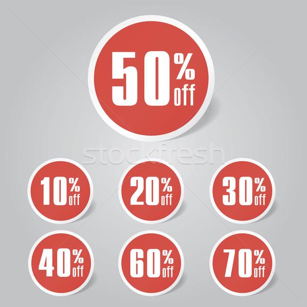 Vásár címkék vektor eps átláthatóság piros Stock fotó © nosik