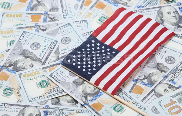 US flag on one hundred dollars banknotes Stock photo © Novic