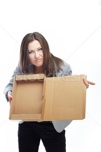 Válság üzlet állásnélküli nő üres doboz Stock fotó © Novic