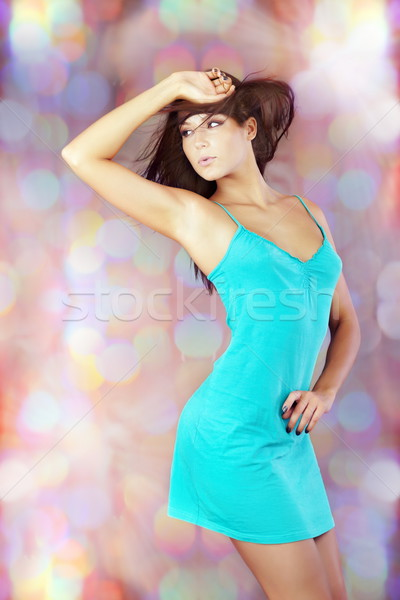 Superstar jonge brunette dansen disco muziek Stockfoto © Novic