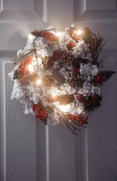 Natal coroa luz branco porta de entrada inverno Foto stock © Novic