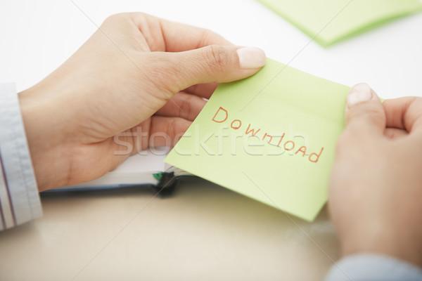 Téléchargement texte mains note collante affaires Photo stock © Novic