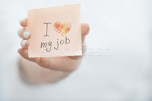 woman holding adhesive note with text Stock photo © Novic