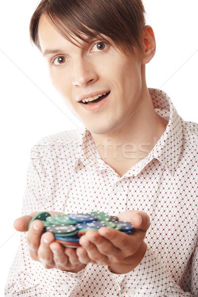 Сток-фото: казино · победителем · человека · фишки · казино