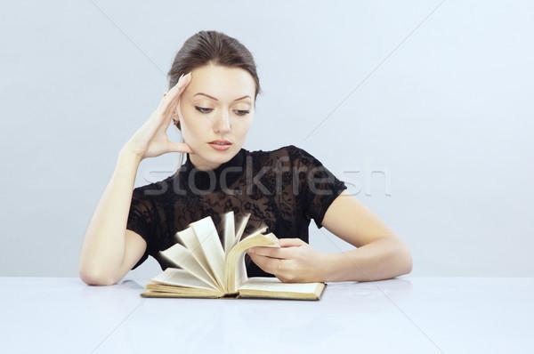 Szybko czytania atrakcyjny pani książki Zdjęcia stock © Novic