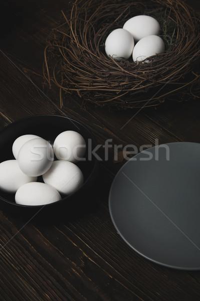 イースターエッグ 鳥の巣 素朴な 木製のテーブル 卵 ファーム ストックフォト © Novic
