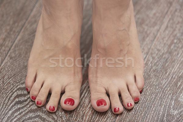 Kobieta stóp liściastego powierzchnia poziomy Fotografia Zdjęcia stock © Novic