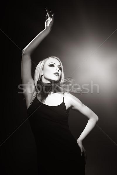 Vintage superstar foto vrouw donkere meisje Stockfoto © Novic