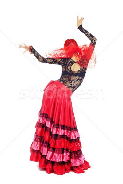 Flamenko arkadan görünüm dans kadın kostüm kız Stok fotoğraf © Novic