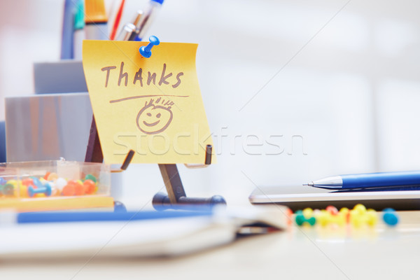 Thanks text on adhesive note Stock photo © Novic
