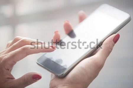 Gadgets leven handen vrouw internet technologie Stockfoto © Novic