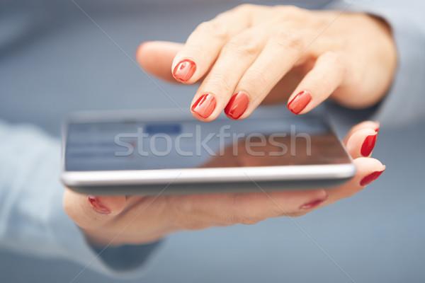 Kadın kırmızı manikür yatay fotoğraf Stok fotoğraf © Novic